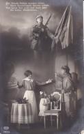 AK Deutscher Soldat Mit Frau - Fahne - Der Feinde Reihen Wanken Schon - Patriotika - Feldpost Wiederitzsch 1915 (34662) - Guerre 1914-18