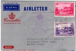 Norfolk Islands 1953, 2 Marken Auf Coronation Air Letter To GB - Norfolk Island