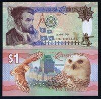 Quebec, Canada, $1, 2016, Private Issue, Essay UNC - Snow Owl, Jacques Cartier - Billets