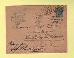 Lettre De Lille Avec Retour A L Envoyeur 2991 De Port Sur Saone - Haute Saone - 1906 - Postmark Collection (Covers)