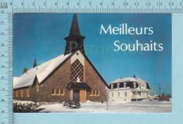 Betsiamits Quebec - Eglise Et Presbitaire, Meilleurs Souhaits - Carte Postale, Postcard - Quebec