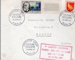 LETTRE 1ER VOL FRANCE 1957 - PARIS A MILAN ET NAPLES - - Aviones