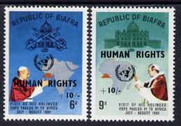 151079 Nigeria - Biafra 1969 Human Rights Opt On Visit Of Pope Set Of 2 Unmounted Mint (see Note After SG 42) - Nigeria (1961-...)
