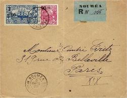 1929- Env. RECC. De NOUMEA Affr. à 1,75 F    Pour La France Avec étiquette De Recc. Locale - Briefe U. Dokumente