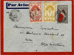 1945- Enveloppe E P 4,50 F  PAR AVION  + Compl. France Libre 3,50 F  Pour La France - Madagascar (1889-1960)