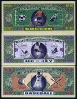 SET USA Fantasy 15 Banknotes (5 Pieces Of Each Note) Sports: Soccer, Hockey, Baseball - Billets