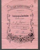 Bordeaux (33 Gironde)  Bulletin De Satisfaction ECOLE SAINT GENIES 1935 (PPP12233) - Diploma & School Reports