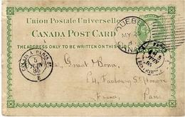 1885- Canada Post Card Two Cents Oblit. Duplex De QUEBEC ,voie Anglaise Pour Paris - 1851-1902 Règne De Victoria