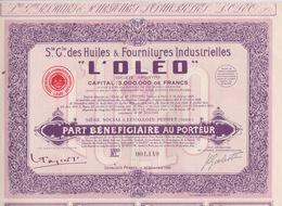 """ACTION 100 FRANCS - STE GENERALE DES HUILES & FOURNITURE """" L'OLÉO """"  Siège LEVALLOIS PERRET  23/12/1925 - Cars"""