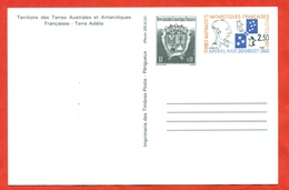 TAAF 1994. Penguins. Postcard With Printed Stamps. Admiral Max Douguet. - French Southern And Antarctic Territories (TAAF)
