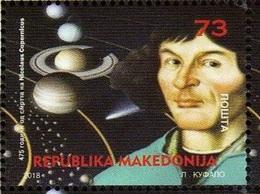 MK 2018-06 SCIENCES - NICOLAUS COPERNICUS, MACEDONIA, 1 X 1v, MNH - Astronomie