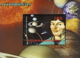 MK 2018-06 SCIENCES - NICOLAUS COPERNICUS, MACEDONIA, S/S, MNH - Astronomie