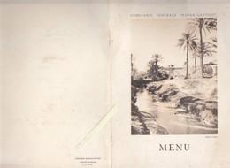Menu - Marine - Compagnie Generale Transatlantique - Gabes L'oasis  - Paquebot Ville D'Oran - Commandant Puech - Menu