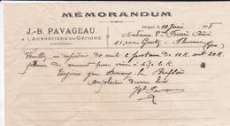 VIEUX PAPIER--44---GETIGNE--1918--J.B. PAVAGEAU--à L'aubretière De Gétigné--( Memorandum )--voir  Scan - France