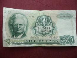 NORVEGE Billet De 50 Krone 1983 - Norvège
