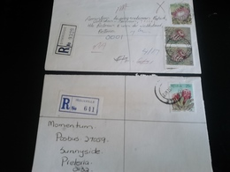 2 Lettres Recommandées ROUXVILLE Et SYMRIDGE , Thème FLEURS - Afrique Du Sud (1961-...)