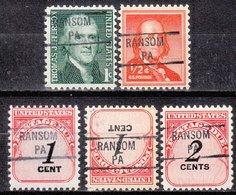 USA Precancel Vorausentwertung Preo, Locals Pennsylvania, Ransom 841, 5 Diff. - Etats-Unis