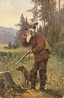 """Hunting Scene"" Nice Antique German Postcard. Signed - Caza"