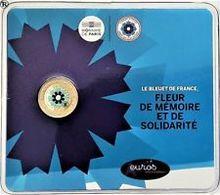 """Pièce Commémorative 2 Euro BU  Colorisée France 2018  """" Le Bleuet  De France """" - France"""