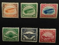 """Estados - Unidos: Años. 1918 - 1923  */- Lujo. ( Avión Curtis - """" Jenny """" En Vuelo Serie Completa ) Dent. 11 - 1b. 1918-1940 Unused"""