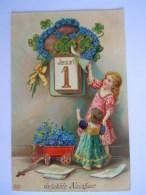 Carte Glacée Gaufrée Enfants 1 Januari Janvier Fleurs Myosotis Kinderen Nieuwjaar Vergeet-me-nietje Circulée Edit EAS - Kindertekeningen