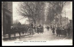 CPA ANCIENNE FRANCE- GRANS (13)- GRANDE AVENUE DE SALON EN HIVER- TRES BELLE ANIMATION GROS PLAN- ATTELAGE - Autres Communes