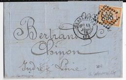 """1874 - SIEGE 40c AVEC """"LAFONTAINE"""" IMPRIME AU VERSO Sur LETTRE De CHARLEVILLE (ARDENNES) => CHINON (INDRE ET LOIRE) - Marcophilie (Lettres)"""