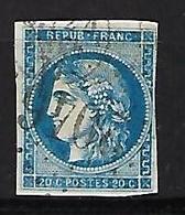 """FR YT 45B """" Ceres 20c. Bleu """" 1867 GC 2046 Lille - 1870 Bordeaux Printing"""