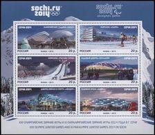 Russia, 2013, Mi. 1992-97 (bl. 195), Sc. 7498, Winter Olympic Games, Sochi, Olympic Sports Venues, Stadiums, MNH - Blocks & Sheetlets & Panes