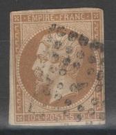 France - YT 13B Oblitéré Losange Baton Bureau J De Paris - 1853-1860 Napoleon III