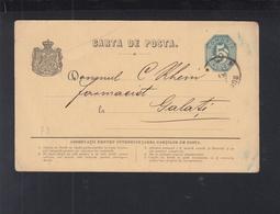 Romania Stationery 1875 Bucuresti To Galati - Ganzsachen
