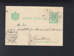 Romania Stationery 1901 Iasi To Heidelberg - Postal Stationery