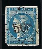 """FR YT 45A """" Ceres 20c. Bleu """" 1867 GC 508 BOEGE - 1870 Bordeaux Printing"""