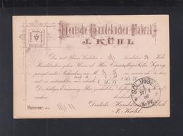 Dt. Reich Werbe-PK 1888 Hundekuchen-Fabrik J. Kühl Hannover 1888 - Hunde