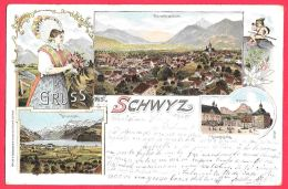 [DC11806] CPA - SVIZZERA - GRUSS AUS SCHWYZ - ORIGINALE - RARA - Viaggiata 1899 - Old Postcard - SZ Schwyz