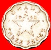 √ STAR: GHANA ★ 3 PENCE 1958 MINT LUSTER! LOW START ★ NO RESERVE! - Ghana