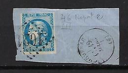 "FR YT 46B "" Ceres 20c. Bleu "" 1871 GC 1021 CHOMERAC - 1870 Bordeaux Printing"