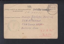 Kriegsgefangenenpost 1945 Bingen Gebühr Bezahlt - Bizone