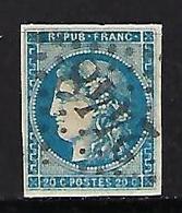 """FR YT 45A """" Ceres 20c. Bleu """" 1871 GC 2448 MONTELIMAR - 1870 Bordeaux Printing"""