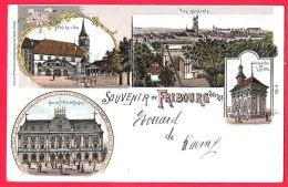 [DC11809] CPA - SVIZZERA - SOUVENIR DE FRIBURG - SUISSE - PERFETTA - RARA - Viaggiata 1899 - Old Postcard - FR Fribourg