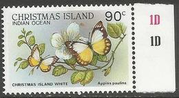Christmas Island - 1988 White Butterfly 90c MNH **    Sc 208 - Christmas Island