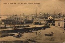 Saluti Da Genova Via Del Ponte Federico Guglielmo Viaggiata 1911 - Genova (Genua)