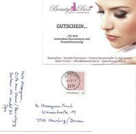 1559g: AK 2291 Lassee, Kleiner Postpartner Gest. 4.5.2018, Firmenwerbung Kosmetik Potzmann - Gänserndorf