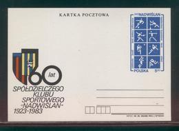 POLAND PC 1988 60 YEARS NADWISLAN SPORTS CLUB CP 841 ARCHERY SOCCER FOOTBALL CANOEING BRIDGE TENNIS VOLLEYBALL SNOOKER - Interi Postali