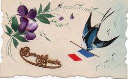84Vn    Illustrateur Cpa Toilée Peinte Violettes Hirondelle Et Drapeau Français - Illustratori & Fotografie