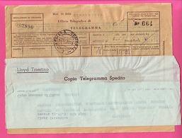 TELEGRAMME AVEC LE MESSAGE TIMBRES DE GRANDE BRETAGNE SURCHARGES B A ERITREA 10 SHILLINGS - 5 SHILLINGS 23-11-51 - Eritrea