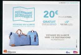 """Carte Publicitaire """"Pass Normandie"""" SNCF - Chemin De Fer - Granville, Caen, Evreux, Rouen, Fécamp, Cherbourg, Deauville. - Other"""
