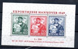 Allemagne Bizone / Feuillet N 1 / Export Messe 1949   Hanovre / NEUF Avec Trace De Charnière - Bizone