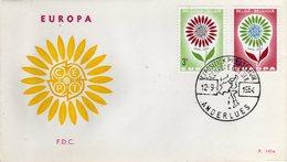 Belgie Belgique 1964 Europa CEPT 5° Anniversario 6 FDC Annulli Anderlues, Beloeil, Gent, Kortrijk, Liege, Tongeren - Europa-CEPT