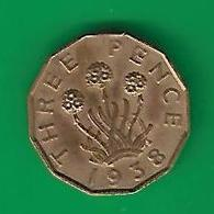 3  PENCE  1938 (PRIX FIXE)  (CM19) - 1902-1971 : Monnaies Post-Victoriennes